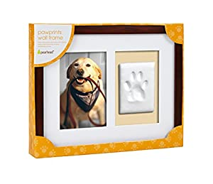 "Pearhead Pawprints Wall Frame, Espresso, 4"" x 6"""