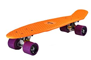 Ridge Skateboard 69 cm 27 Inch Nickel Cruiser Retro Stil M Rollen Komplett Fertig Montiert, Pb-27-Orange-Purple