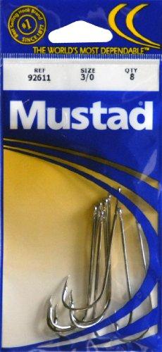 Mustad Hooks Long Shank Beak Nickel Size 3/0 Poly Bag 8 per pk #92611-3/0 pc27