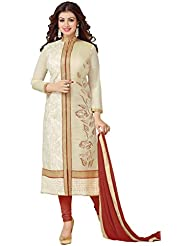 Leela Creators Women's Maroon Cotton Semi-Stitched Suits Dress Materials (Free Size_Maroon_38)