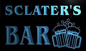 w101062 b SCLATER Name Home Bar Pub Beer Mugs Cheers Neon Light Sign