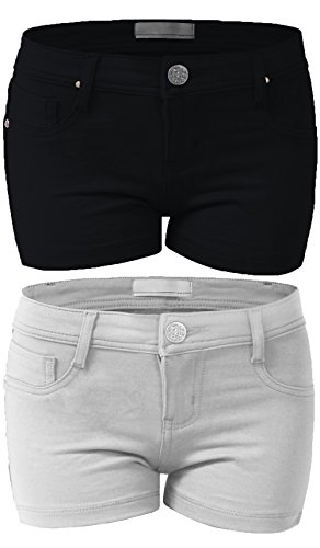 Emmalise Women's Summer Casual Stretchy Shorts (Large, Black White 2Pk) Large Casual Shorts