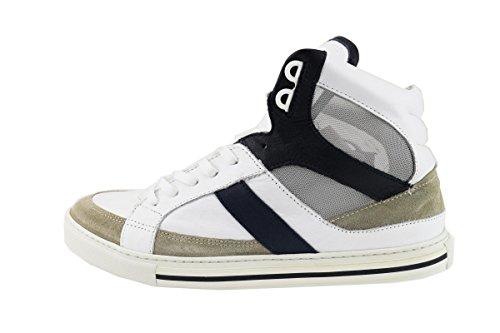 SERAFINI sneakers uomo pelle camoscio tela (42 EU, Beige/bianco/blu)