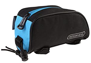Roswheel® 12654 1L Outdoor Mountain Bicycle Cycling Frame Front Top PVC Tube Bag Bike Pouch (Black+Blue) by Roswheel