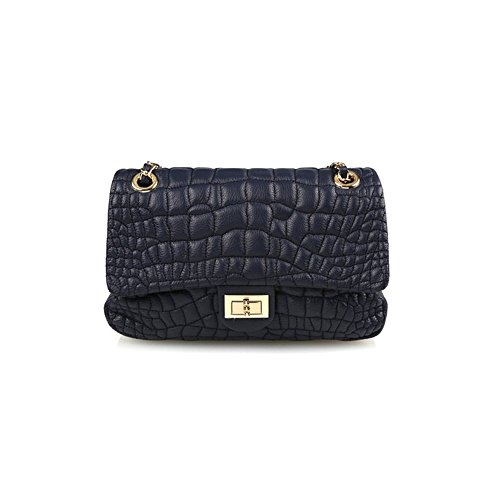 dearwyw-women-genuine-cowhide-leather-unbalanced-quilted-pattern-cross-body-shoulder-bag-navy