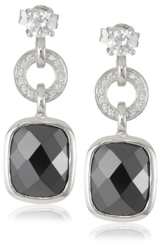 Giorgio Martello Sterling Silver Drop Earrings with Black and White Faceted CZ