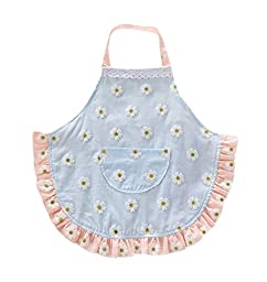 CRB Fashion Childrens Little Chef Flower Floral Ruffle Girls Toddler Kids Apron with Pockets (2T to 3T, Blue)