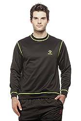 Gypsum Solid Mens Round Neck Sweat T-Shirt (Black)