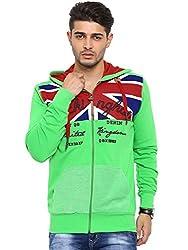 Showoff Men's Full Sleeves Solid Green Casual Sweatshirt