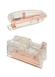 Acrylic Desktop Tape Dispenser and Stapler Clear/Rose Gold
