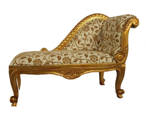Mini Sofa Chaiselongue edel Hocker kinder Sofa links gold