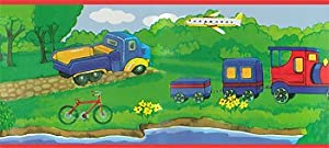 Trucks Cars Planes Boats Autos - Peel and Stick - Boys Room Wall Border