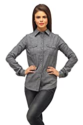 Ladybug Women Casual Chambray Shirt in Grey