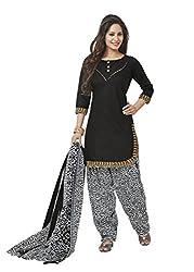 Gugaliya Women's ROYAL CLASS Premium CELEBERATION Series 100 % Cotton UNSTICHED Black color Patiala Salwar, Kameez & Dupatta Suit (Baalar 210)