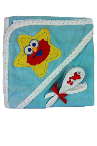 Sesame Street Elmo Hooded Bath Towel with Brush and Comb (Blue)