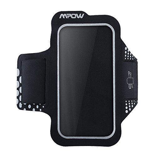 Mpow Fascia Sportiva da Braccio Sweatproof Bracciale per Corsa & Esercizi con Supporto Chiave e Riflettente Armband per iPhone7/6s/6, Samsung Galaxy S7, S6, Huawei P9/8, etc - Nero