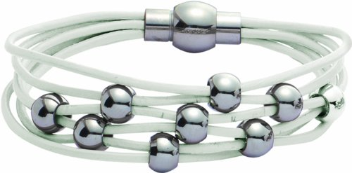 Jodie Rose White Leather and Silver Bead Bracelet of 19cm