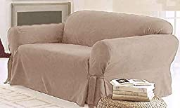 Legacy Decor 1 PC Furniture Slipcover for Loveseat, Soft Micro Suede. Beige Color