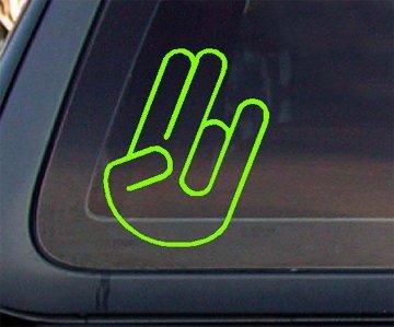 Shocker Hand Sign Car Decal / Sticker - Lime Green