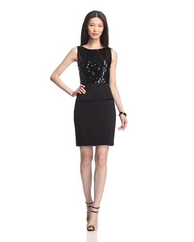 Elie Tahari Women's Jayden Herringbone Sequined Dress  - Black