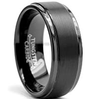 8MM Black High Polish / Matte Finish Men's Tungsten Ring Wedding Band Sizes 6 to 15