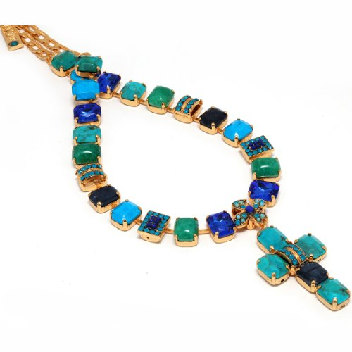 Dazzling Necklace from 'Inspiration' by Israeli Amaro Jewelry Studio with Cross Pendant; All Set with Rectangle Cut Stones: Sodalite, Amazonite, Turquoise, Lazurite, Cat Eye, Chrysocolla, Malachite, Swarovski Crystals; 24K Yellow Gold Plated