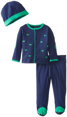 Little Me Baby-Boys Newborn Whale Take Me Home Set, Navy, 3 Months front-894695