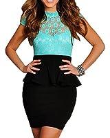 LOVEBEAUTY® Women's Short Sleeve Open Back Lace Night Club Dress