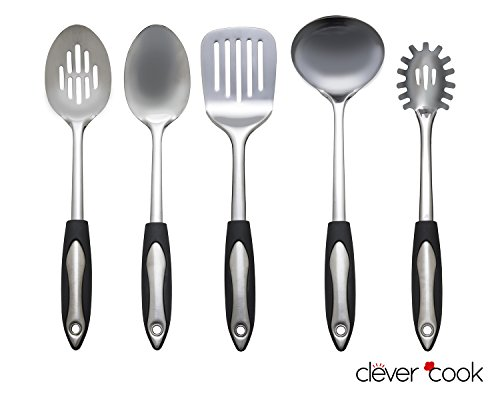 Best Starter Kitchen Utensils Set By Clever Cook   5 Piece Stainless Steel  Cooking And Serving Accessories