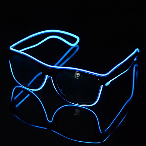 El Wire LED Light up Shutter Glasses for Party Concert 3-mode Sound Control Blue