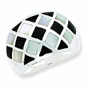 Sterling Silver Mother of Pearl and Enamel Ring