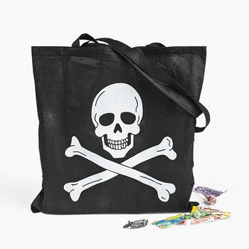 One Large Pirate Skull And Crossbones Trick-Or-Treat Tote - 1