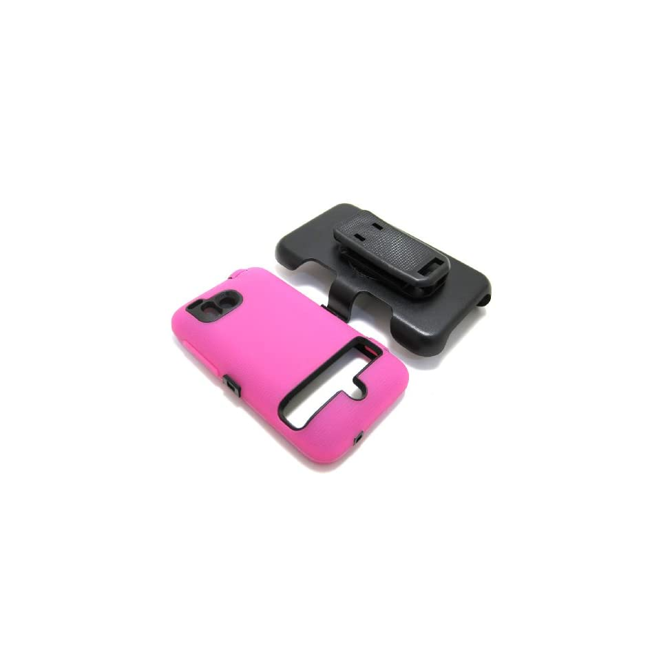 Cell Nerds Ultimate Dual Protection Case Cover and Belt Clip Holster, Hot Pink Silicone and Black Inner Plastic, Compatible with The Verizon HTC ThunderBolt or HTC Droid Incredible HD, Cell Nerds Packaging