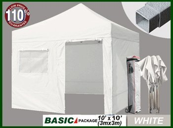 Eurmax 10 X 10 Pop Up Canopy Outdoor Party Tent Gazebo +4 Zipper End Walls+ Roller Bag+ Bonus Awning front-864242