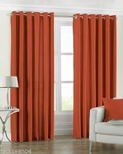 Plain Faux Silk Orange 66 X 54 Lined Ring Top Curtains