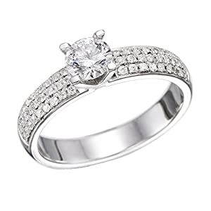 GIA Certified 14k white-gold Round Cut Diamond Engagement Ring (1.92 cttw, E Color, VS1 Clarity)