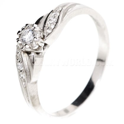 Diamond 18ct White Gold Engagement Ring with Curved Shoulders