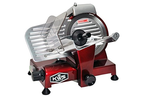 "KWS Premium 200w Electric Meat Slicer 6""(Red) Stainless Blade, Frozen Meat/ Cheese/ Food Slicer Low Noises"