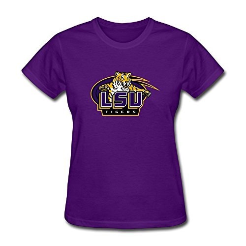 [Female Vintage Slim Fit LSU Football Tshirts Size XL Color Purple] (Barack Obama Face Mask)