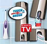 IMAGE OF Touch N Brush Hands Free Tooth Paste Dispenser Chrome