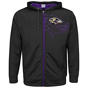 Majestic Men's Baltimore Ravens Coverage Full Zip Hoodie, Big and Tall Sizing from Majestic