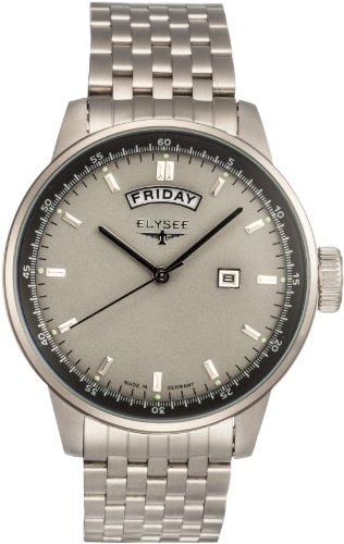 Elysee 80503 - Reloj analógico de cuarzo para hombre con correa de acero inoxidable, color plateado