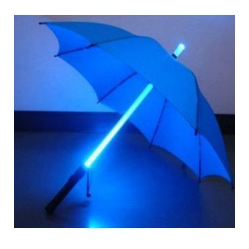 LED Light Umbrella -Blue with Blue Lighted Rod