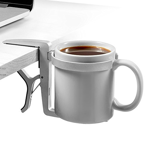 Vector Cup Holder / Vector Drink Holder - Clip-on, Clamp-on, Foldable, Portable & Adjustable Universal Cup Holders / Drink Holders (Silver Aluminum) for Travel, Airplanes, Desks, Tables & Wheelchairs