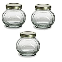 Nakpunar 3 pcs, 8 oz Round Glass Jars for Jam, Honey, Wedding Favors, Shower Favors, Baby Foods, Canning, spices