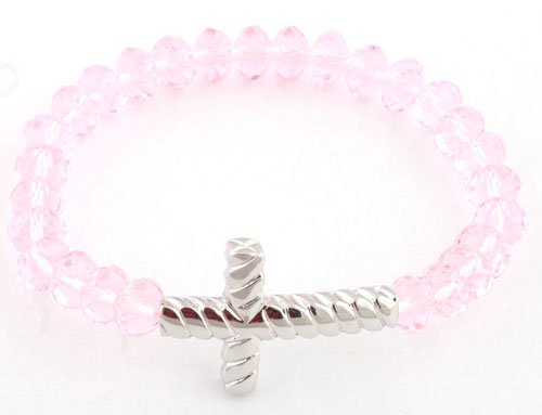 Ladies Transparent Pink with Silver Twisted Style Cross Glass Beaded Stretch Bracelet