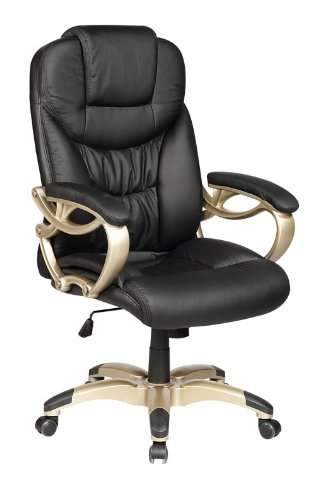 High Back Black Computer Desk Leather Ergonomic Office Executive Chair w/Heavy Duty Metal Base O7
