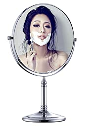 Cavoli Stand 8inch Makeup Mirror Tabletop Two-sided Swivel Vanity Bathroom Mirror with 5X Magnification for Home,Chrome Finish