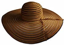 EH9341LF - Womens UPF 50+ 100% Polyester Striped Wide Brim Floppy Hat - Brown/One Size