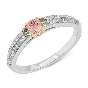 Classic Wedding Solitaire, Vivid Pink, Created Diamond Ring, Low Side Shank & Micro Pave, 14Kt P/W, 0.4 TCWT